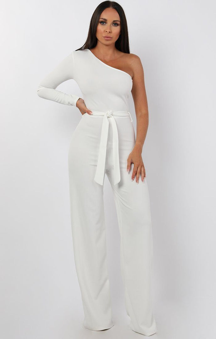 a8585e58f4b95 White Belted One Shoulder Jumpsuit - Evelyn