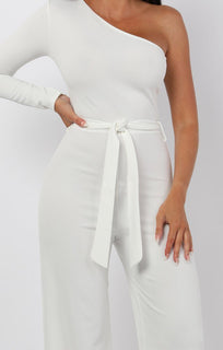 White Belted One Shoulder Jumpsuit - Evelyn jumpsuits FemmeLuxe