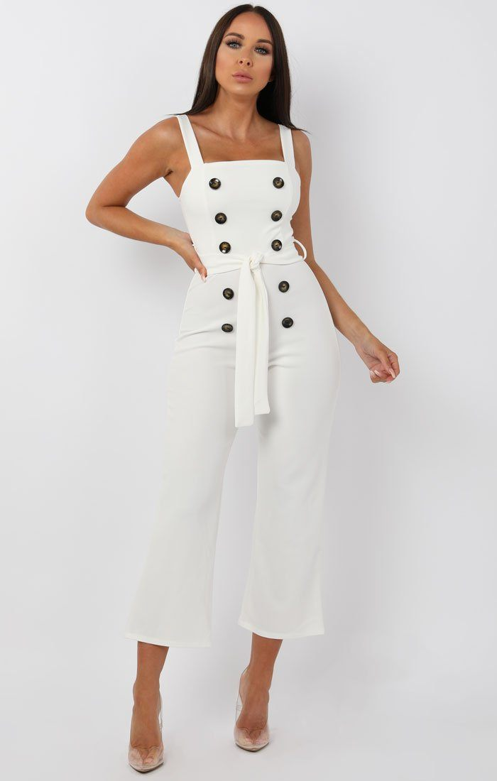 White Button Detail Belted Jumpsuit - Echo