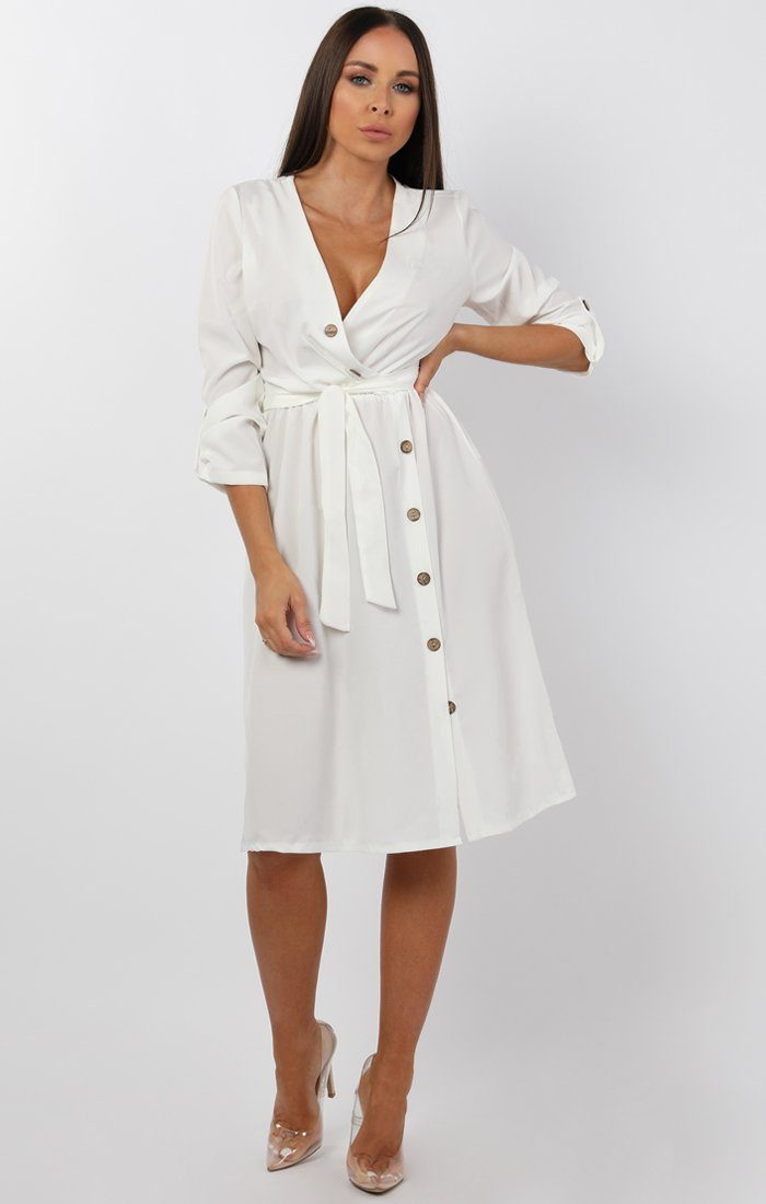 White Button Detail Wrap Dress - Jenna