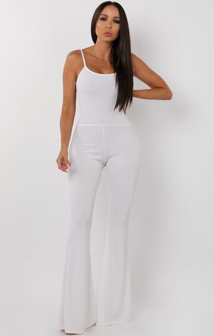 White Cami Ribbed Flare Jumpsuit - Gloria jumpsuits FemmeLuxe