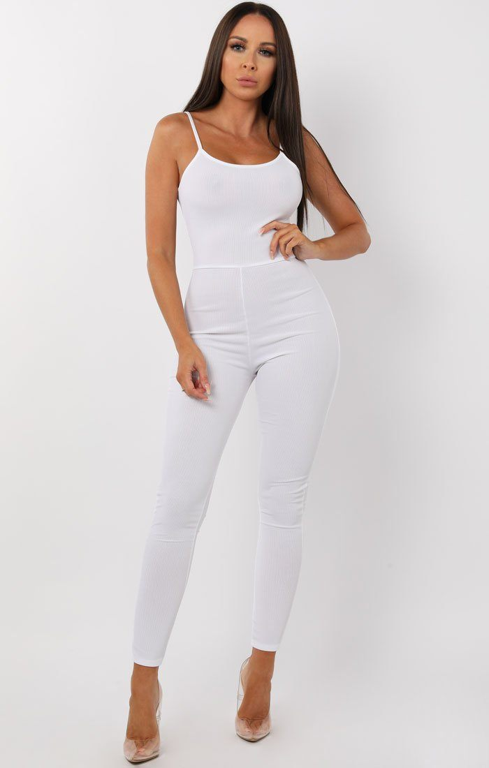 52e11311c333 White Cami Ribbed Jumpsuit - Lolly