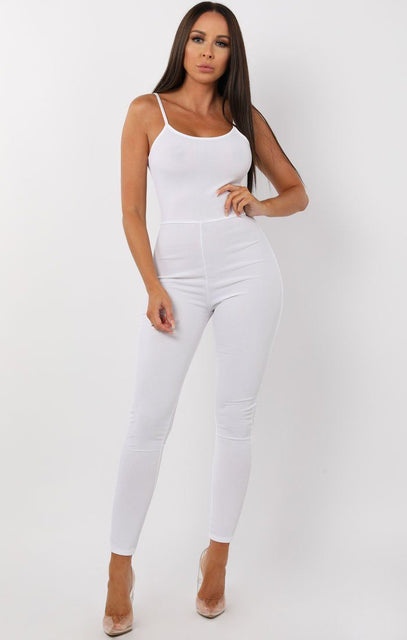 White Cami Ribbed Jumpsuit - Lolly