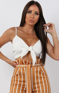 White Cami Tie Front Crop Top - Elise