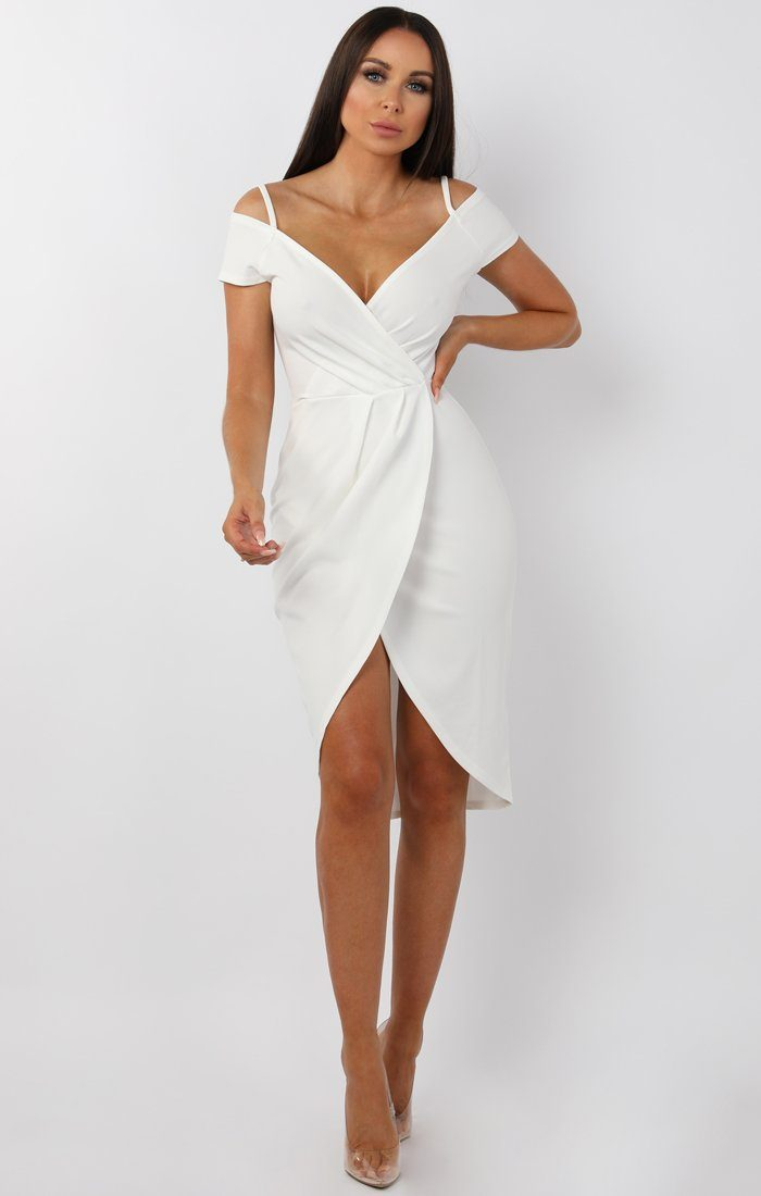White Cold Shoulder Wrap Front Midi Dress - Roslyn