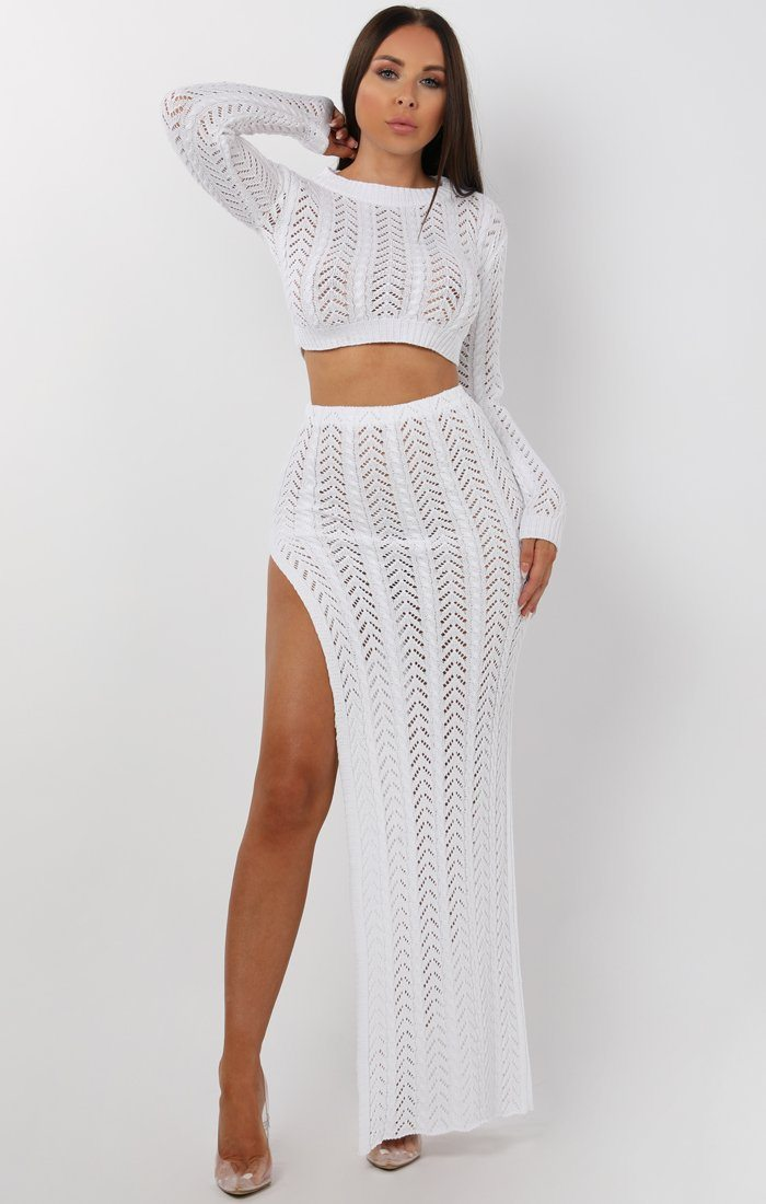 White Crochet Long Sleeve Crop Top - Natasha