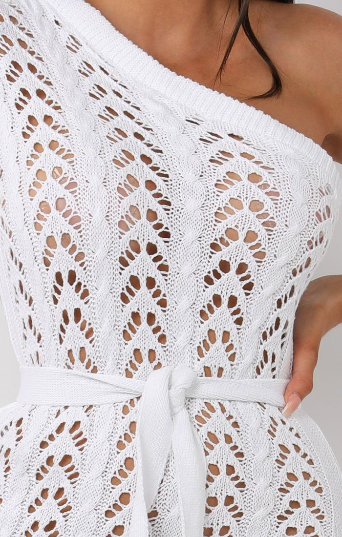 White Crochet One Shoulder Mini Dress - Deena