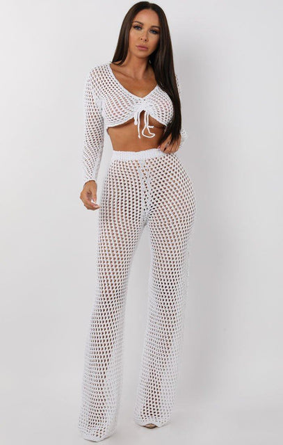 White Crochet Tie Front Top - Nova