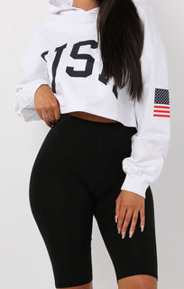 Cropped USA Hoodie - Sophie