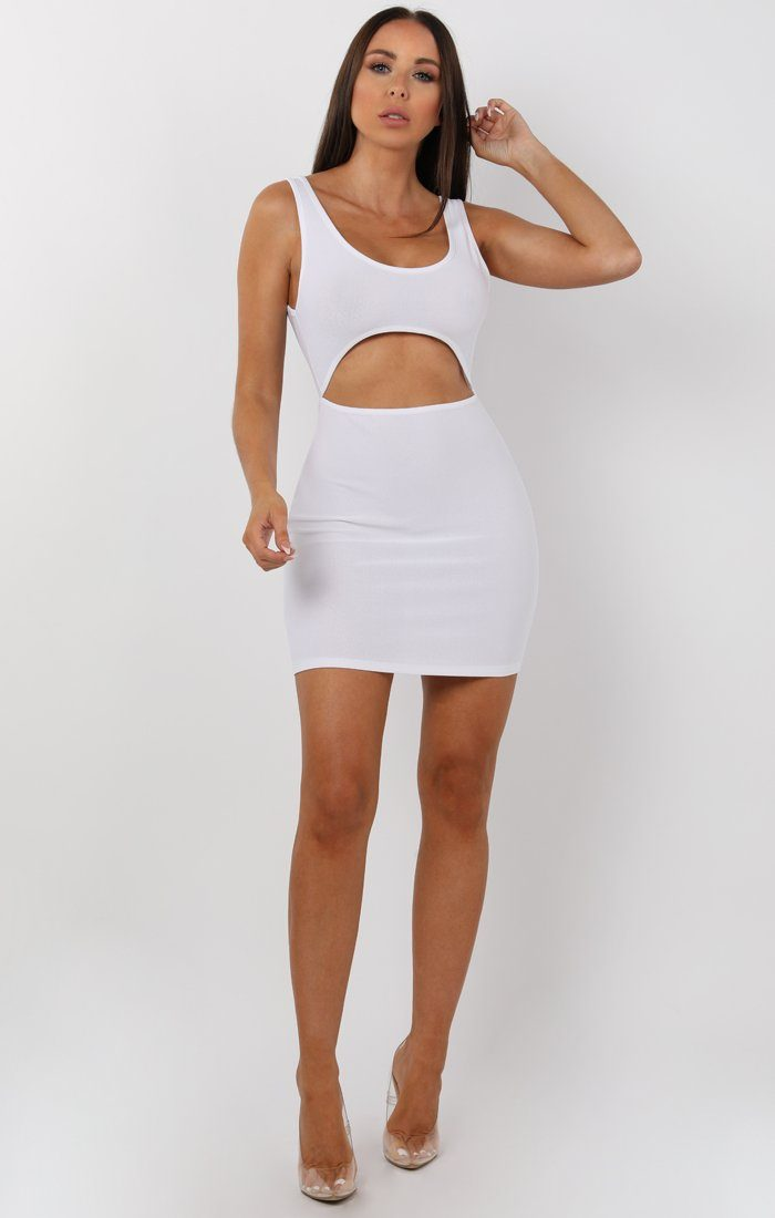 White Cut Out Bodycon Mini Dress - Olesya