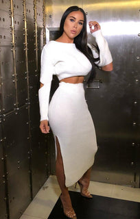 White Cut Sleeve Knitted Co-ord - Sansa