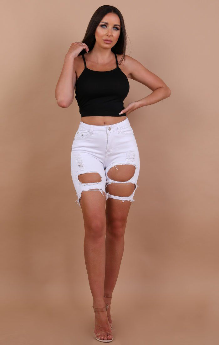 White Distressed Ripped Jeans Shorts - Serenity