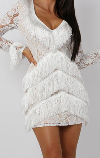 White Lace Sleeve Tassel Bodycon Mini Dress - Luella