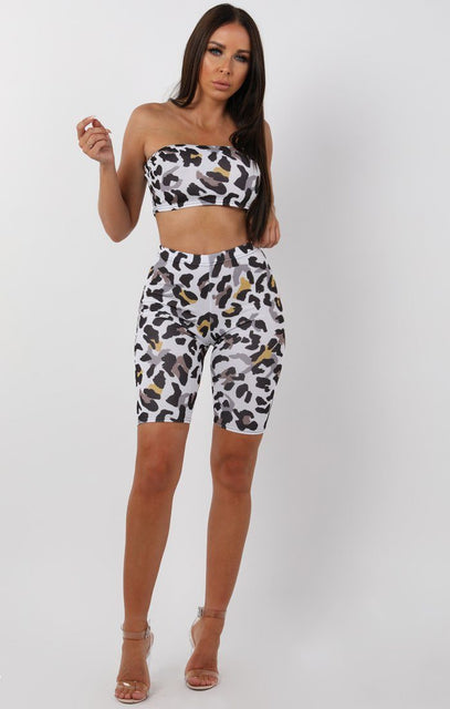White Animal Leopard Bandeau Two Piece Co-ord Set - Bonny