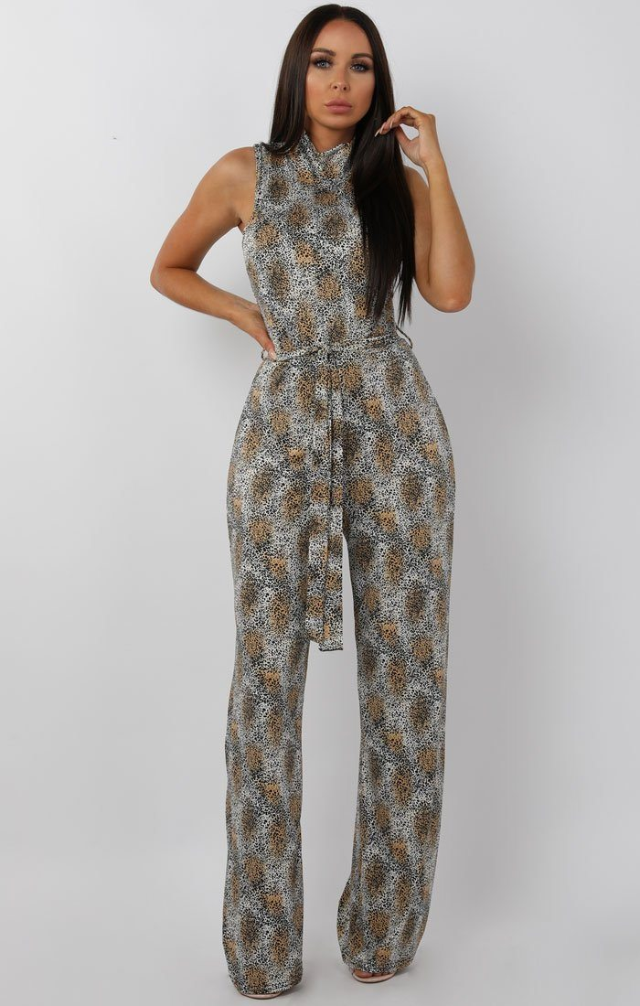 White Animal Leopard High Neck Belted Jumpsuit - Lorna sale FemmeLuxe