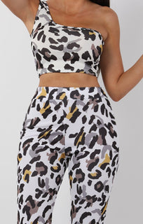 White Animal Leopard Print One Shoulder Crop Top - Keeley