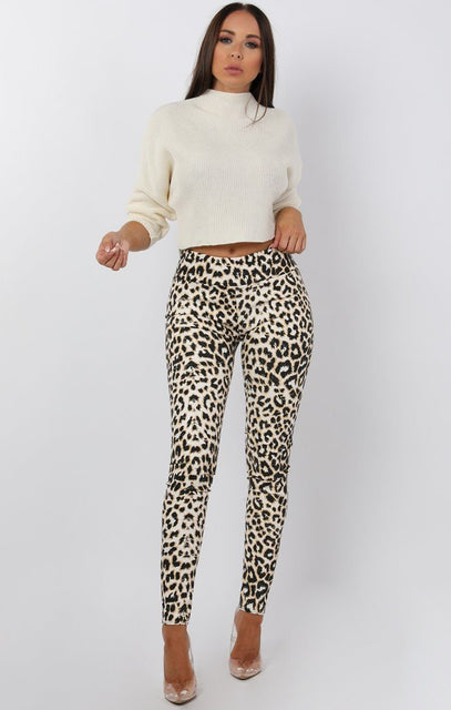 White Animal Leopard Print PU Leggings - Kaleah