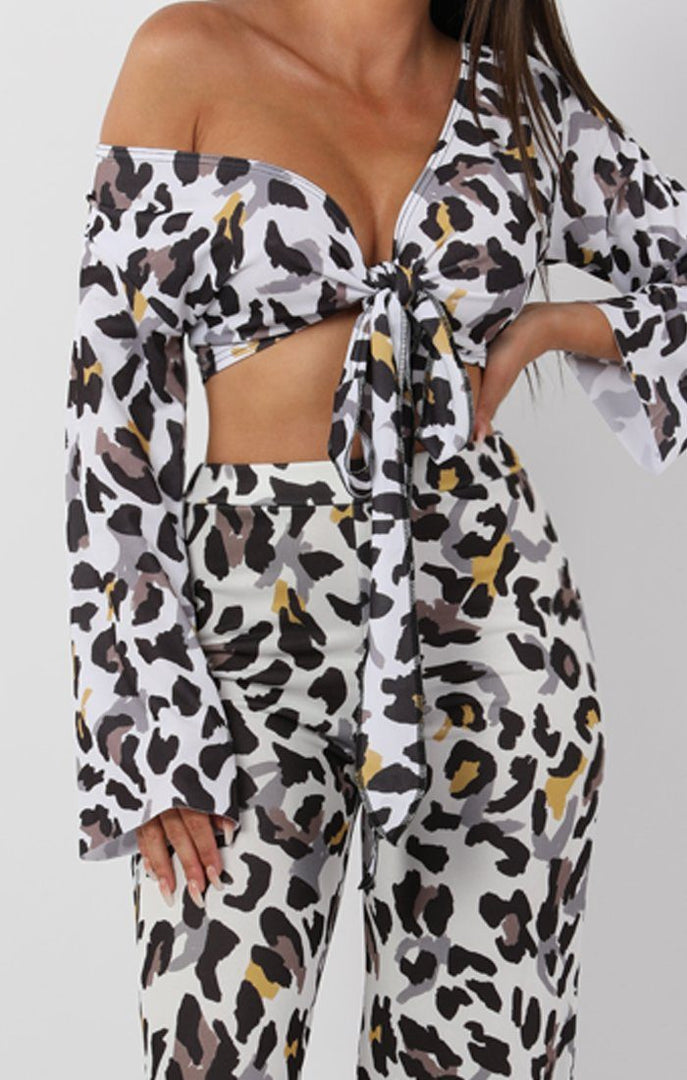 White Animal Leopard Print Tie Front Crop Top - Leanne