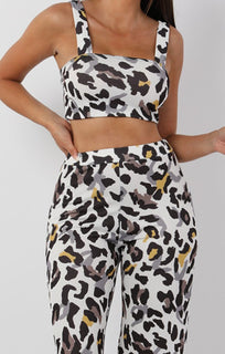 White Animal Leopard Print Two Piece Co-ord Set - Katie