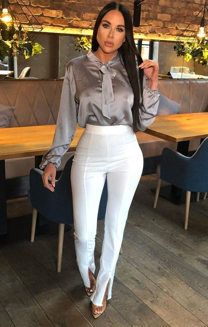 White Long Split Fitted Trousers - Gianna