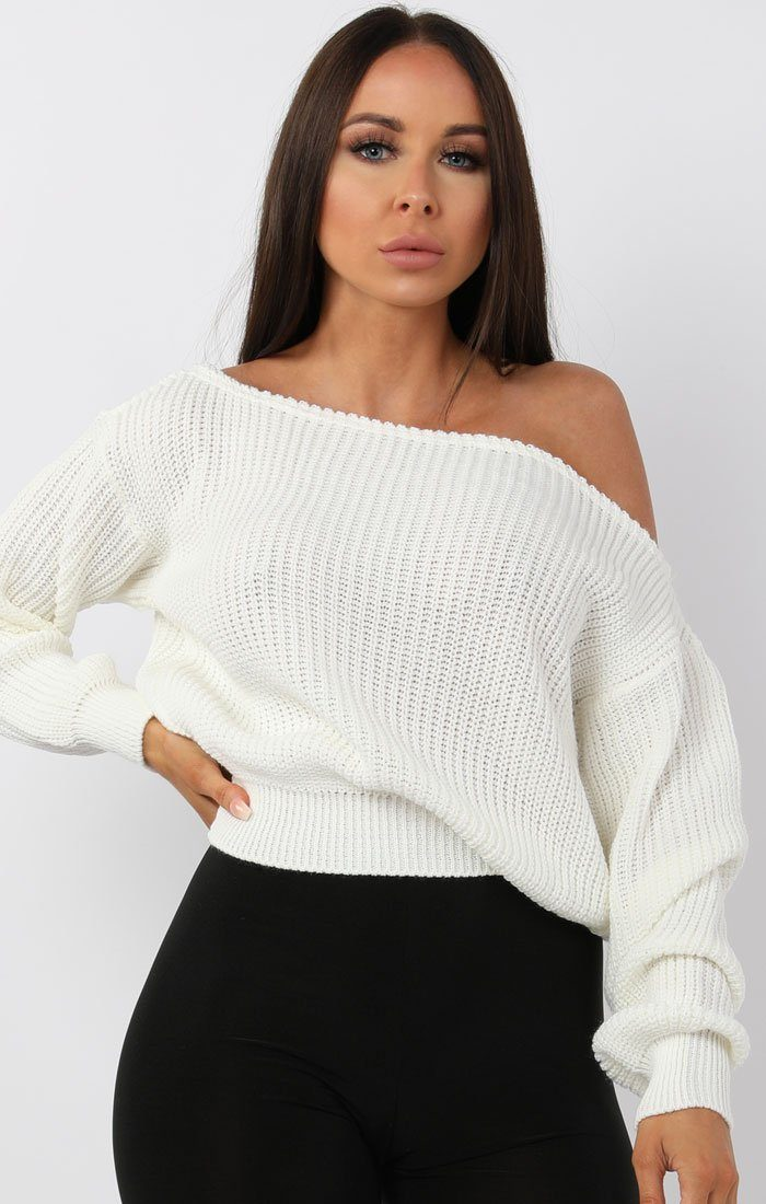 White Off Shoulder Knitted Jumper - Aspen