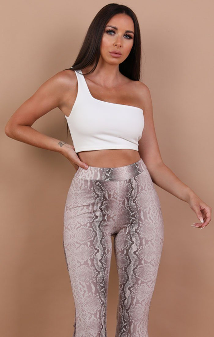 White One Shoulder Crop Top - Keeley