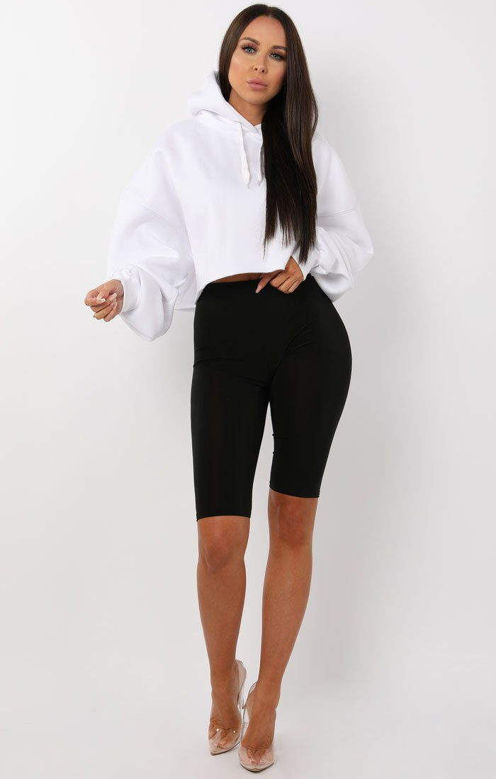 White Oversized Crop Hoodie - Crystal Shop FemmeLuxe