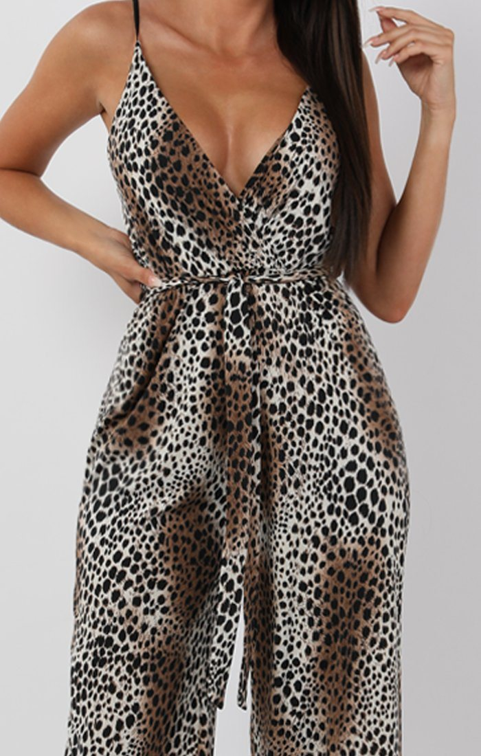 White Patch Animal Leopard Print Belted Jumpsuit - Harlow