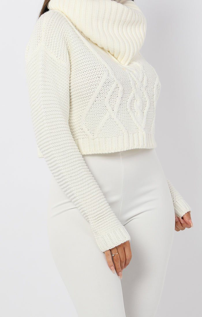 White Polo Neck Cable Knit Cropped Jumper - Juniper