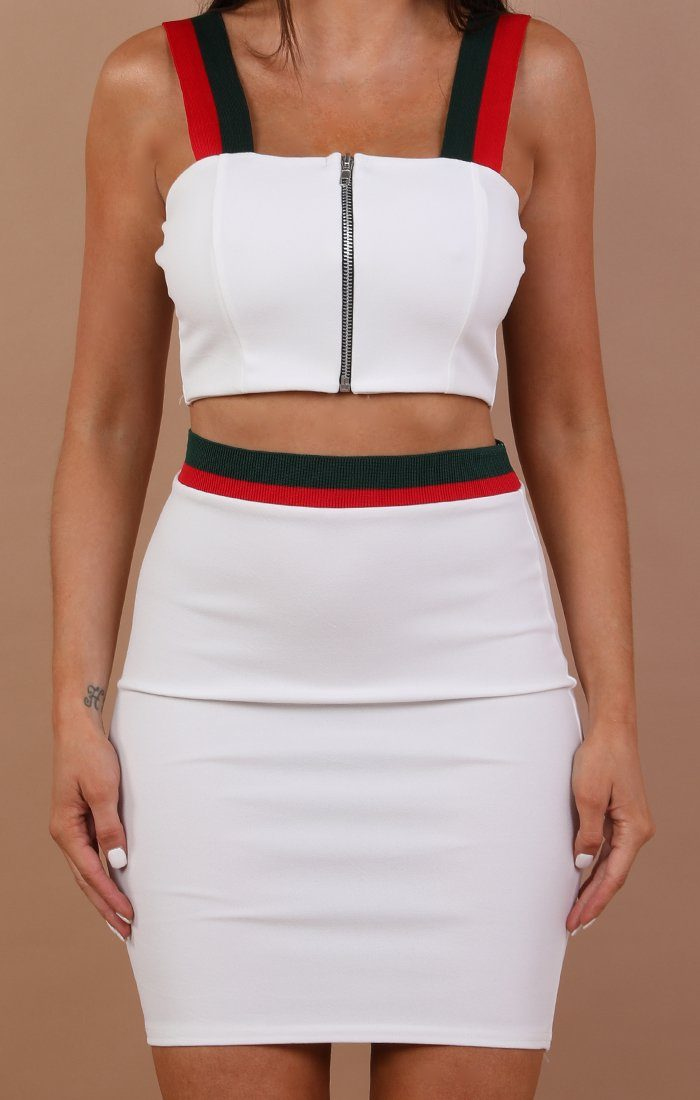 Red And Green Stripe High Waist Skirt Two Piece Co-ord Set - Georgie