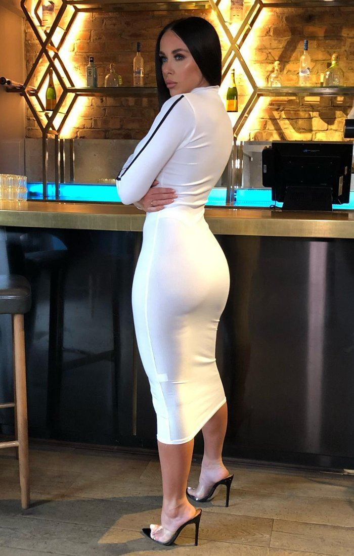 White Ribbed High Neck Bodycon Midi Dress - Sky