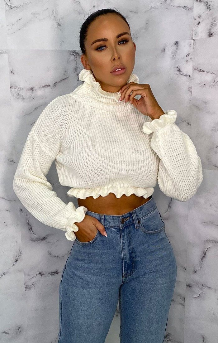 White-Ruffle-Hem-Chunky-Knit-Crop-Jumper