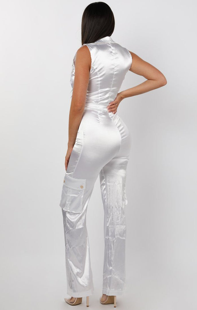 White Satin Belted Pocket Detail Jumpsuit - Casey