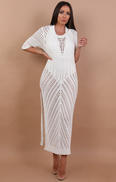 White Side Split Crochet Maxi Dress - Melody