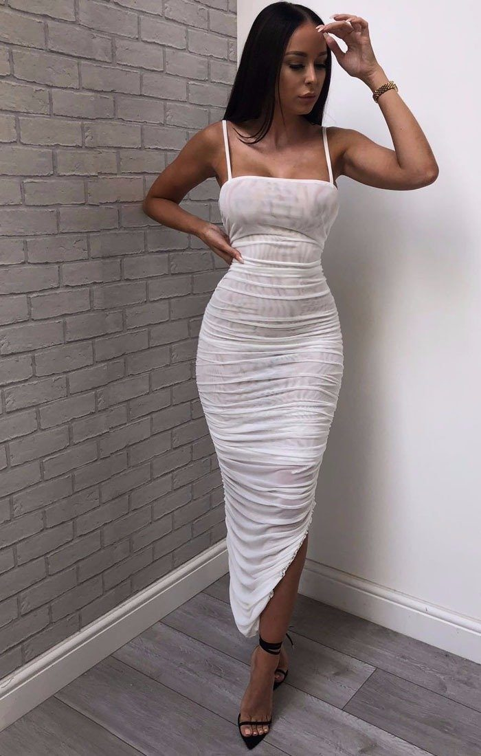 White-Slinky-Ruched-Split-Leg-Maxi-Dress-Mariah