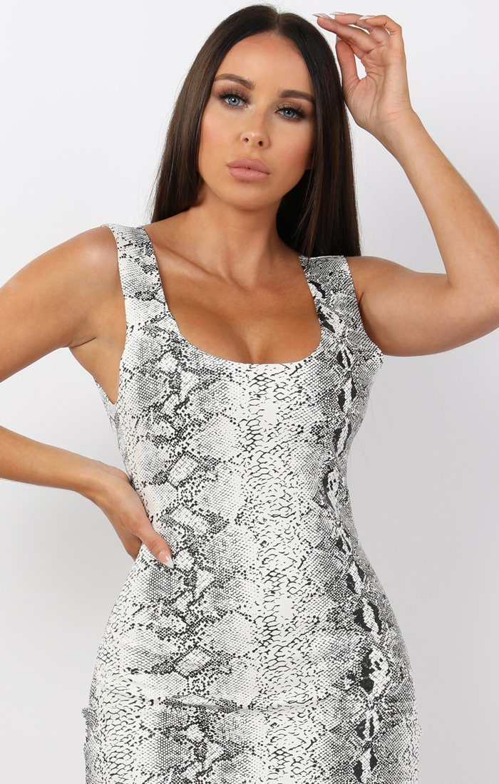 White Animal Snake PU Open Back Bodycon Mini Dress - Tasha