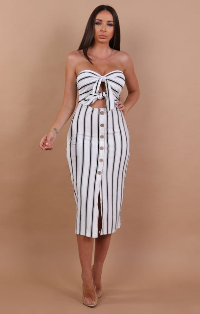 White Striped Bodycon Midi Dress - Demi