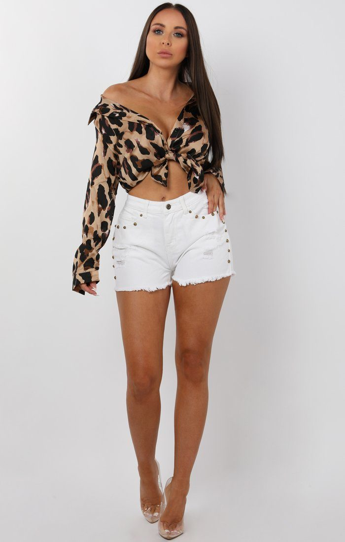 White Studded Distressed Denim Shorts - Lara
