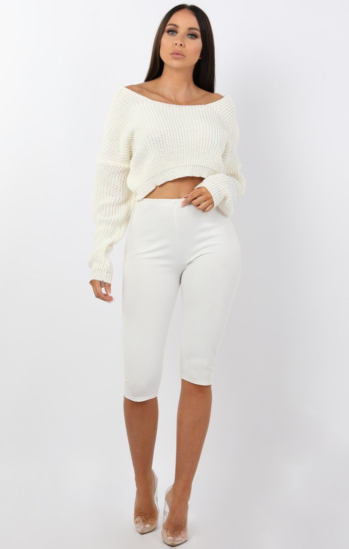 White V-Neck Cropped Jumper - Cordelia