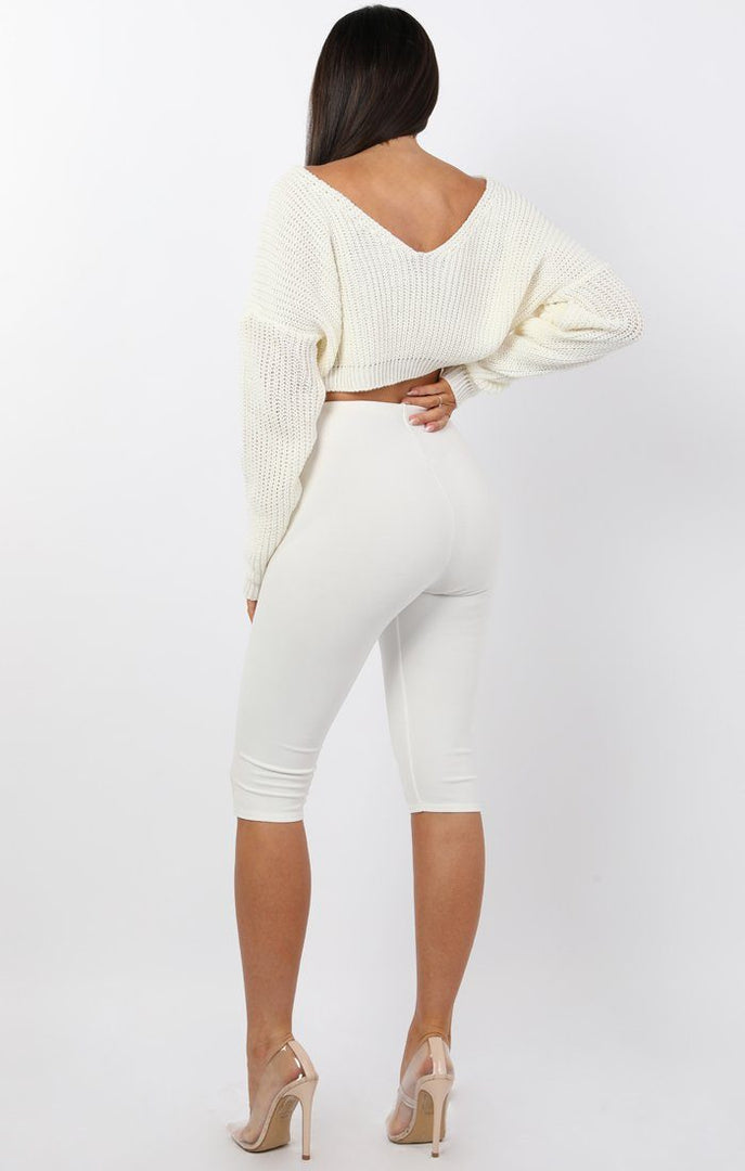 White V-Neck Cropped Jumper - Cordelia sale FemmeLuxe