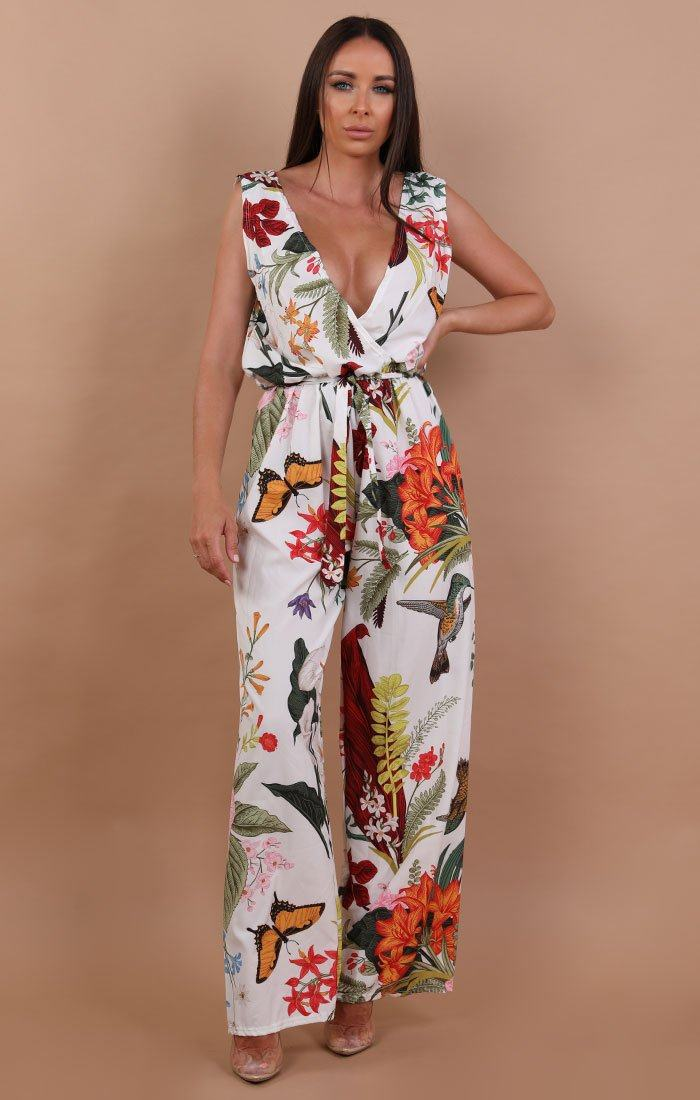 White floral Plunge Belted Jumpsuit - Oriana