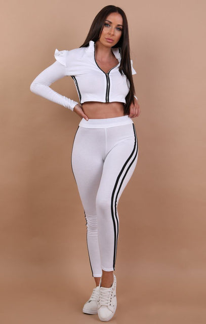 White frill shoulder with Black stripe loungewear set – Kady