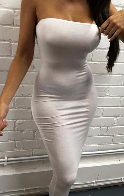 White Bandeau Bodycon Midi Dress - Ariana