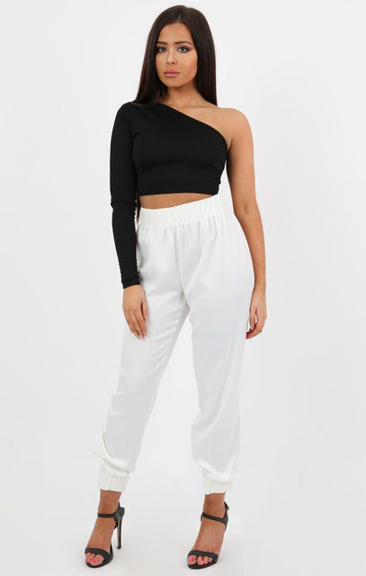 White Satin Cuff Leg Trousers - Luna