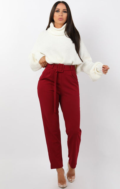 Wine Belted Tapered Cigarette Trousers - Molly
