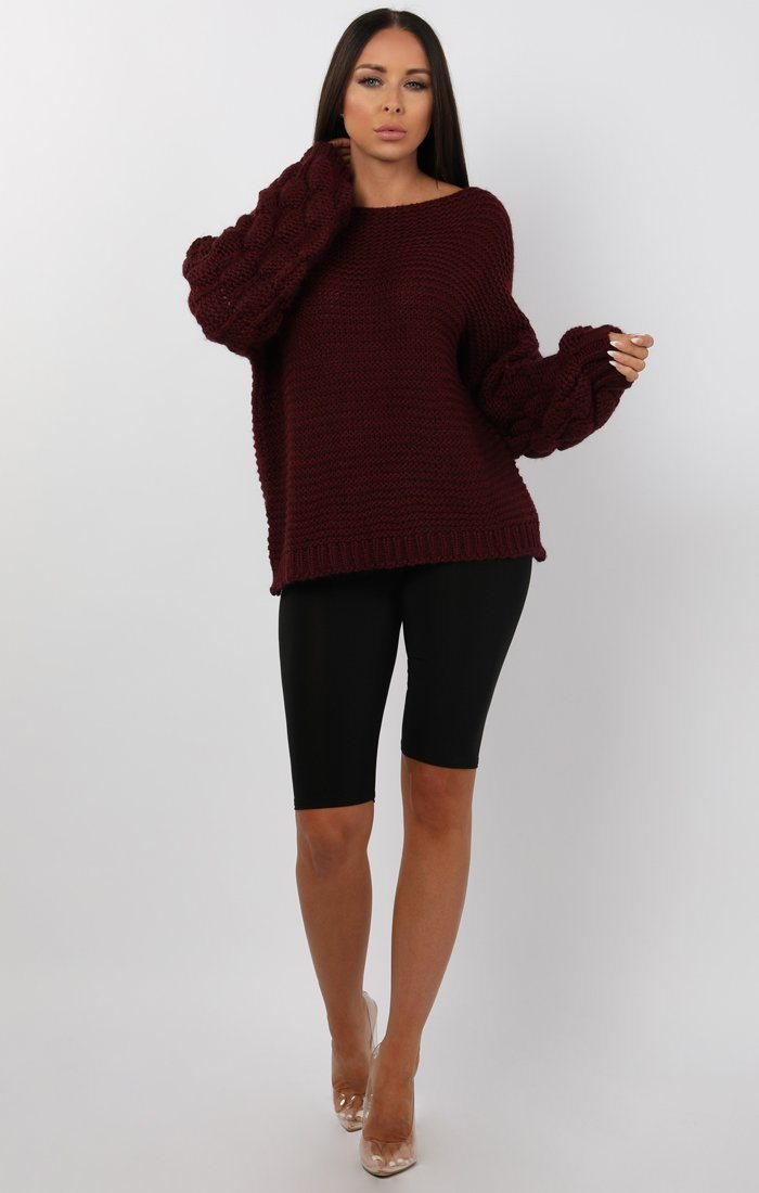 Wine Bobble Stitch Knitted Jumper - Sandy