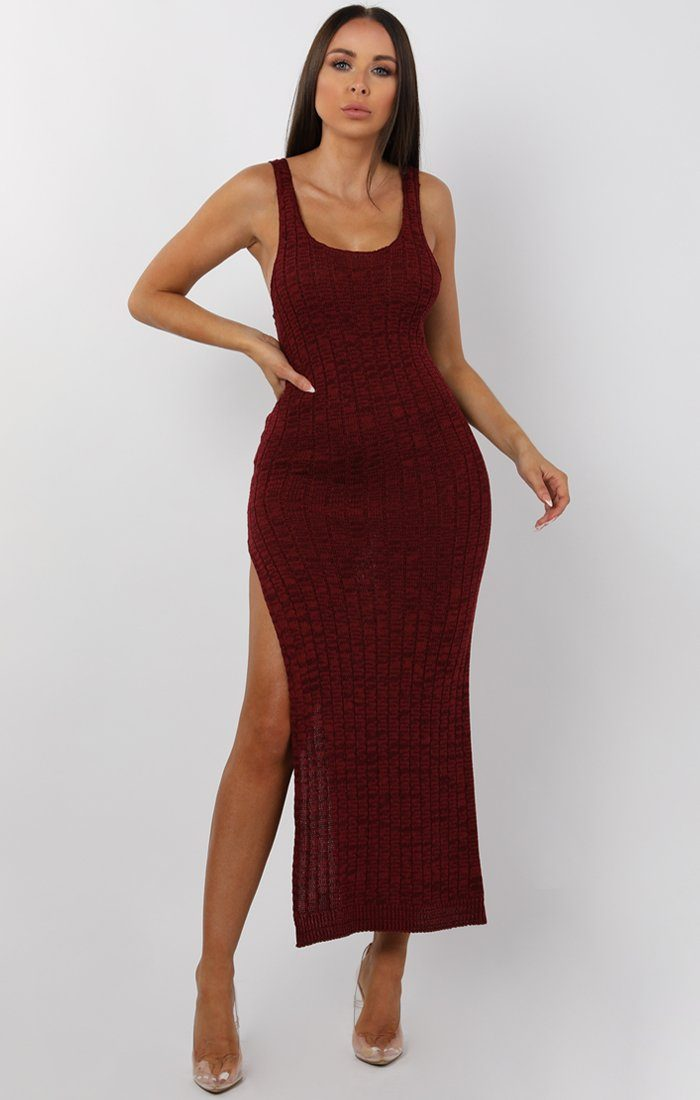 058c95131763 Wine Cami Knitted Side Split Maxi dress - Thea