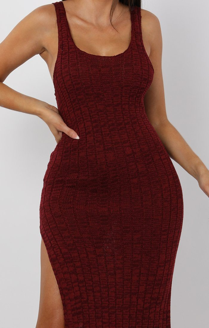 Wine Cami Knitted Side Split Maxi dress - Thea