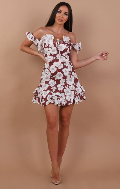 Wine Floral Bardot Frill Mini Dress - Caitlyn