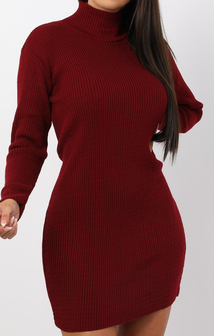 Wine High Neck Bodycon Jumper Dress - Esmelia